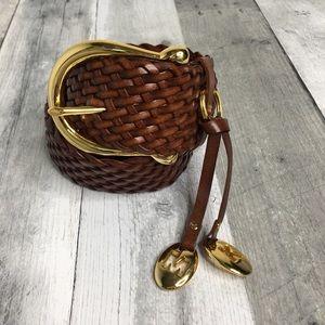 Michael Kors Woven Brown Leather Belt